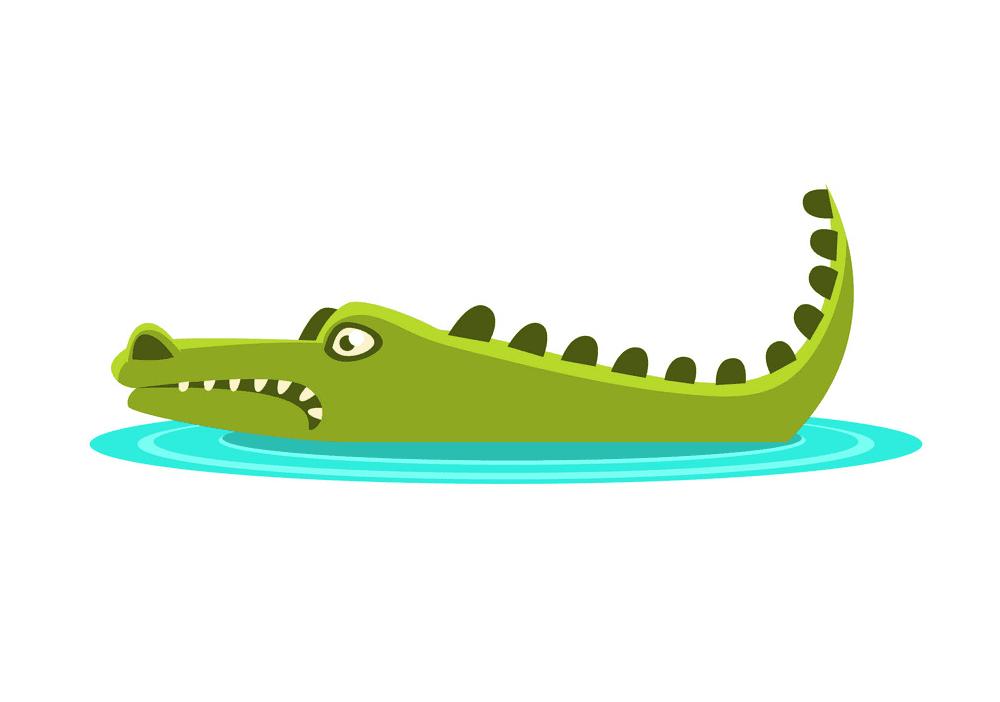 Alligator in Water clipart 1
