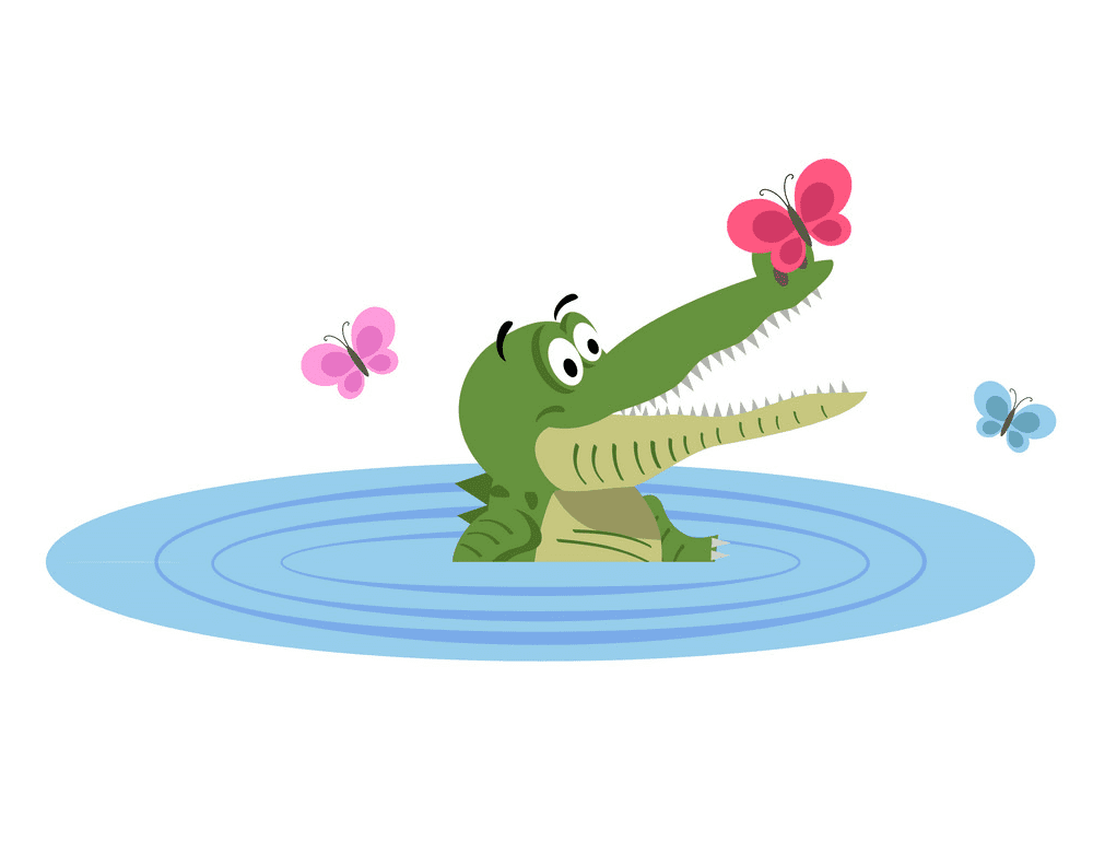 Alligator in Water clipart 2