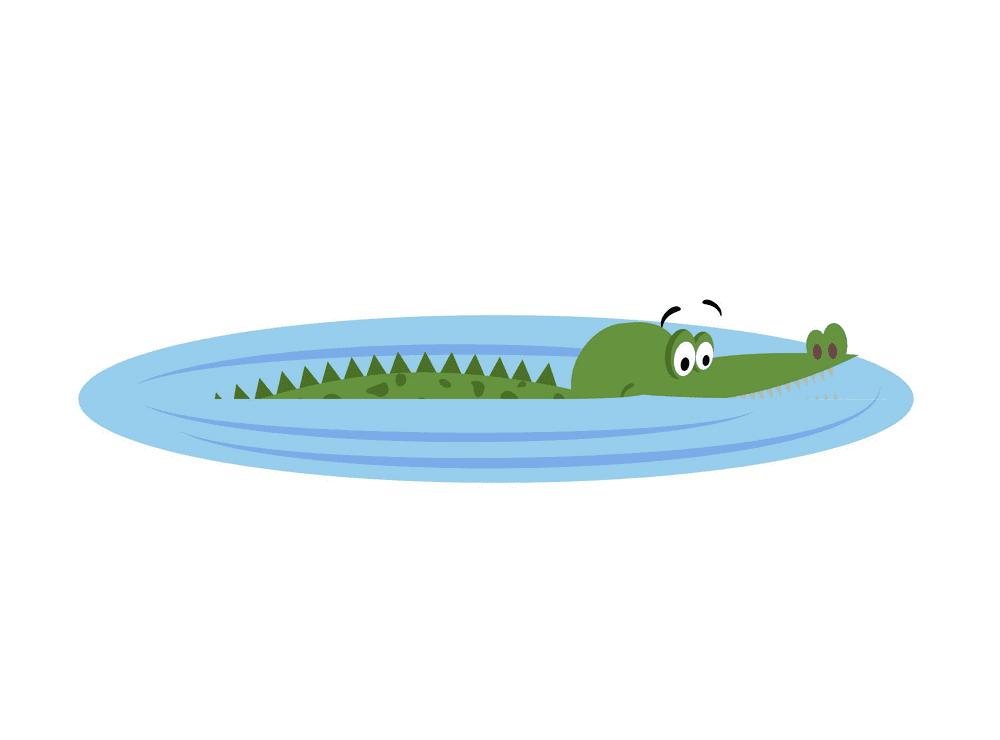Alligator in Water clipart 3