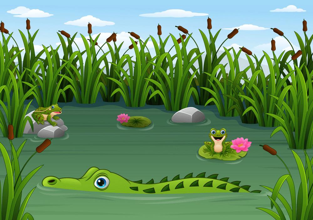 Alligator in Water clipart 4