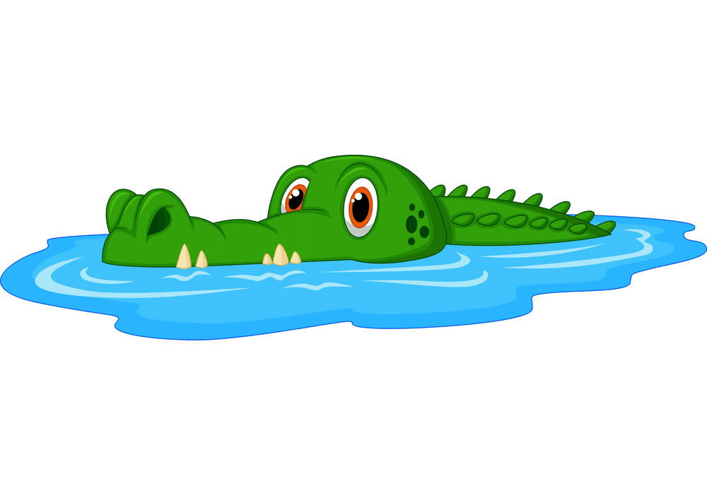 Alligator in Water clipart free
