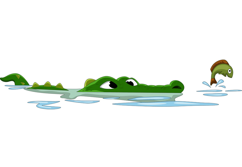 Alligator in Water clipart png