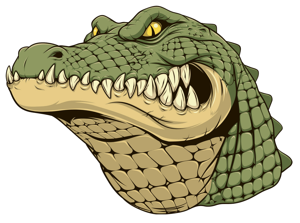Angry Alligator clipart transparent