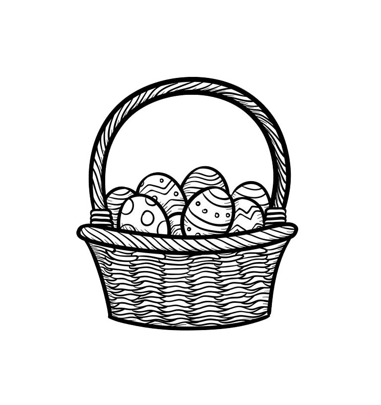 Balck and White Easter Basket clipart transparent