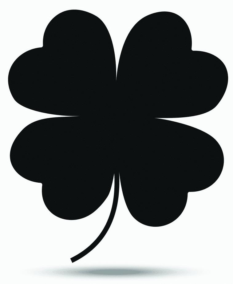 Black Four Leaf Clover clipart