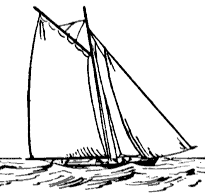 Black and White Sailboat clipart free