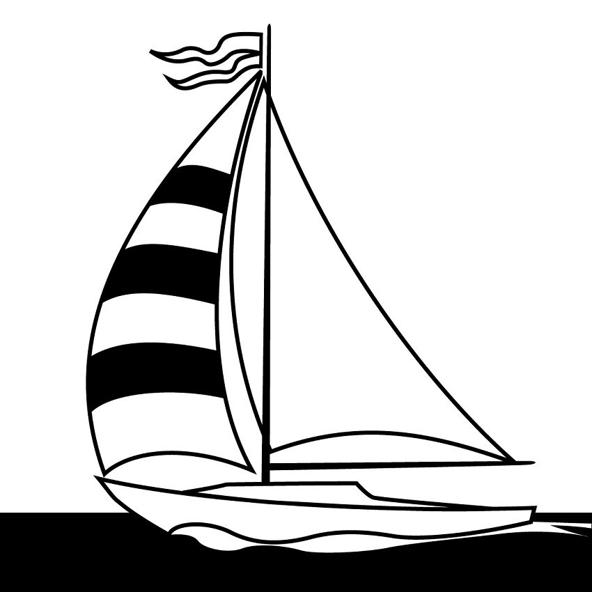 Black and White Sailboat clipart png