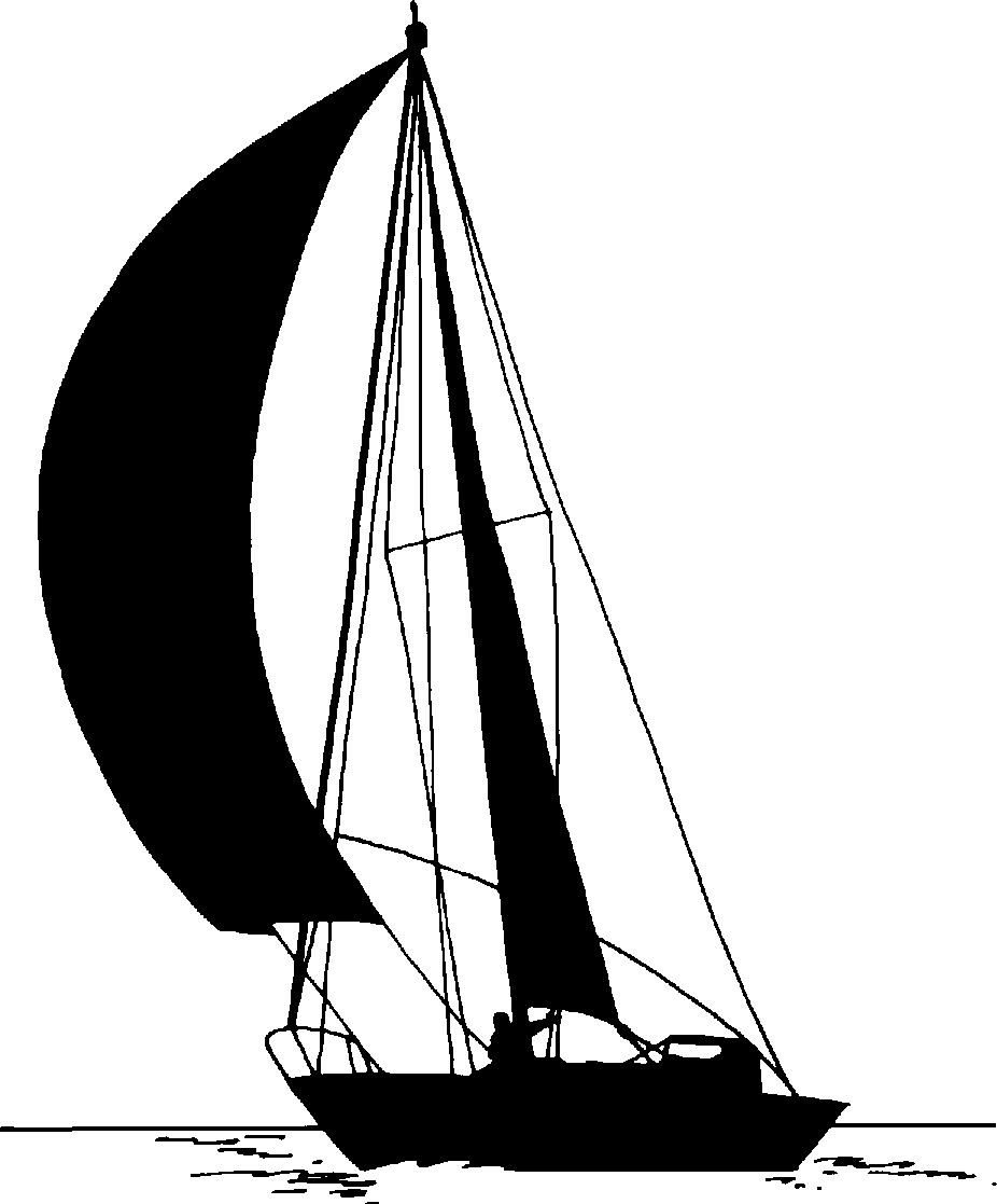 Black and White Sailboat clipart