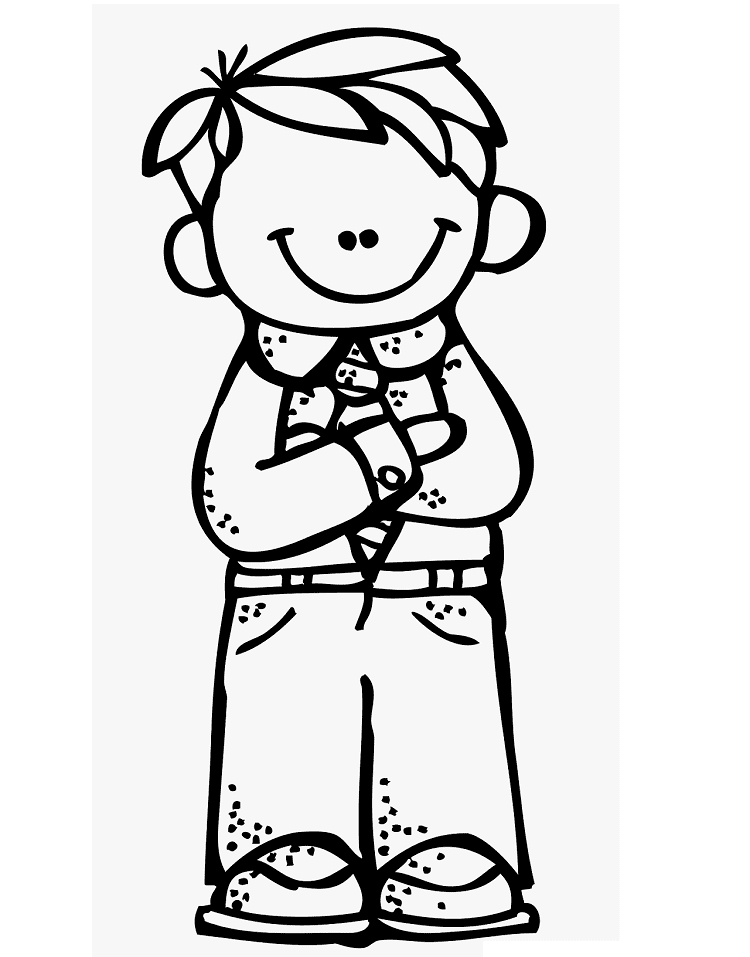 Boy Clipart Black and White 2
