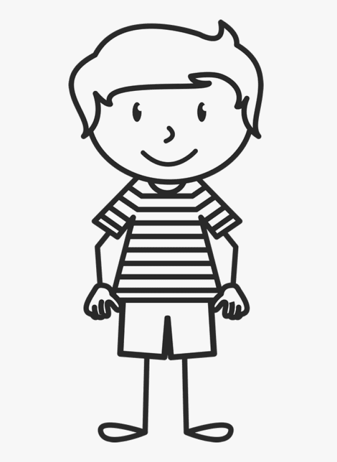 Boy Clipart Black and White 8