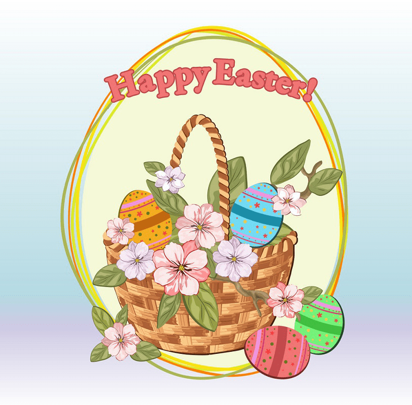 Clipart Easter Basket with Flowers