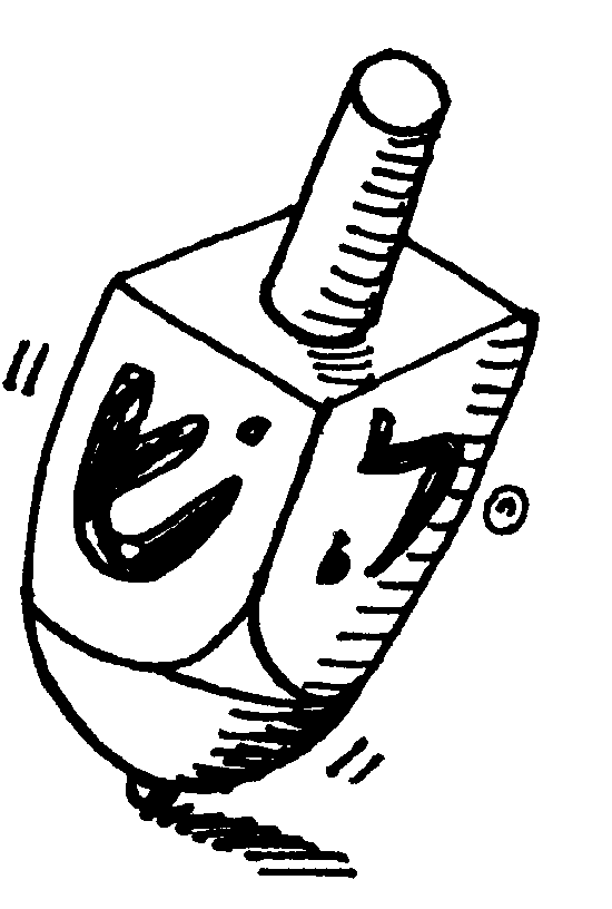 Dreidel Clipart Black and White 1