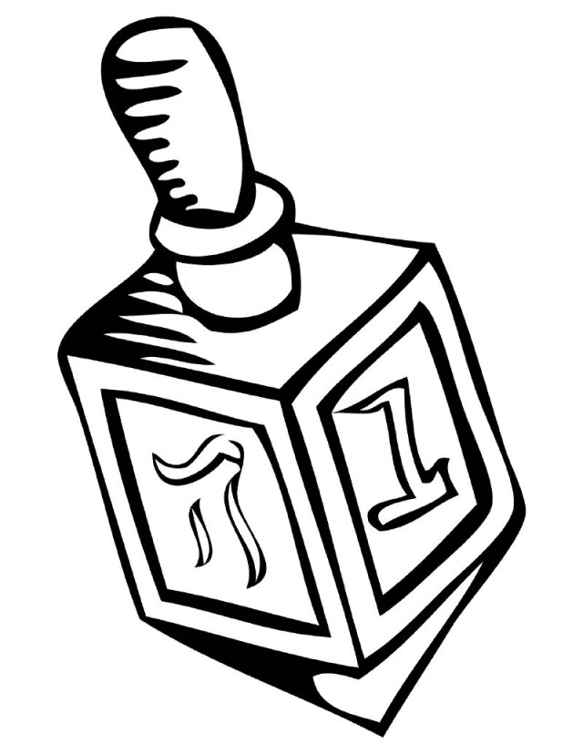 Dreidel Clipart Black and White 6