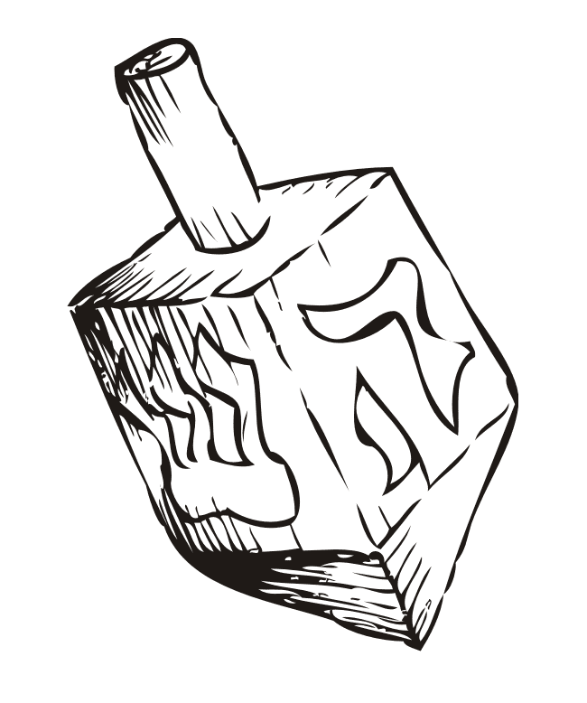 Dreidel Clipart Black and White