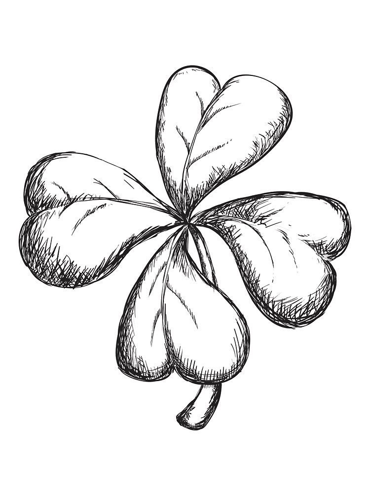 Four Leaf Clover Clipart Black and White 3