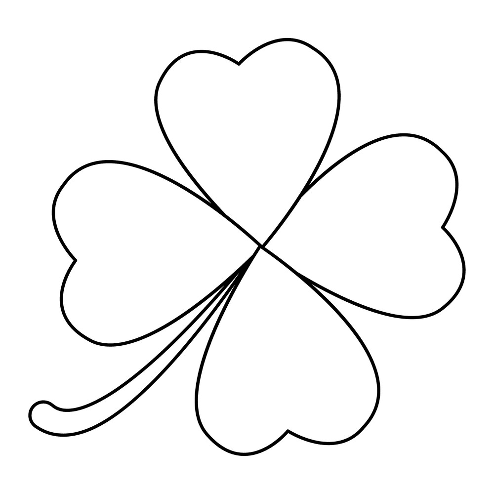 Four Leaf Clover Clipart Black and White 5