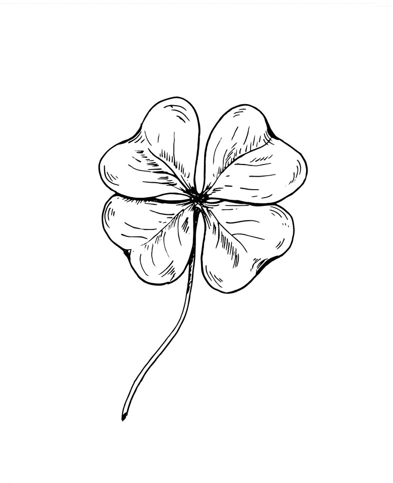 Four Leaf Clover Clipart Black and White 7