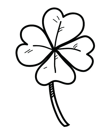 Four Leaf Clover Clipart Black and White 8