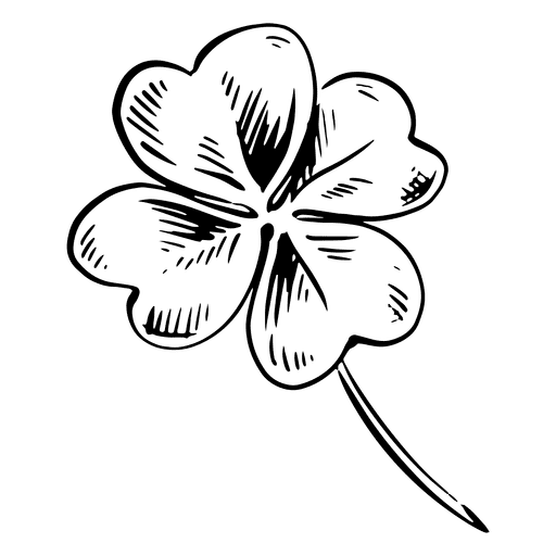 Four Leaf Clover Clipart Black and White 9
