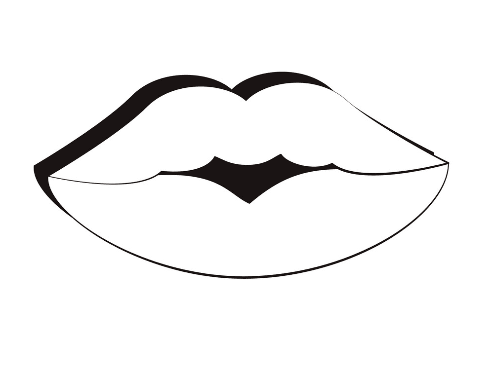 Free Lips Clipart Black and White