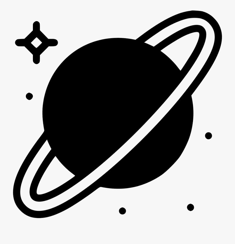 Free Saturn Clipart Black and White