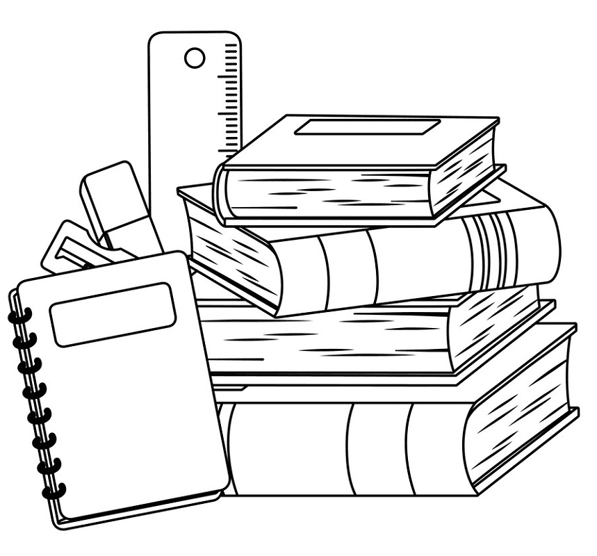 Free School Supplies Clipart Black and White