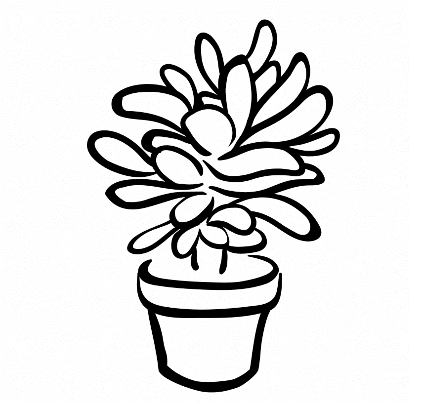 Free Succulent Clipart Black and White