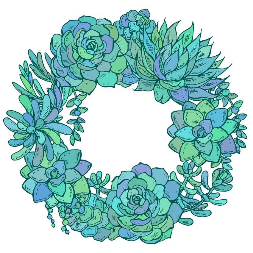 Free Succulent Wreath clipart