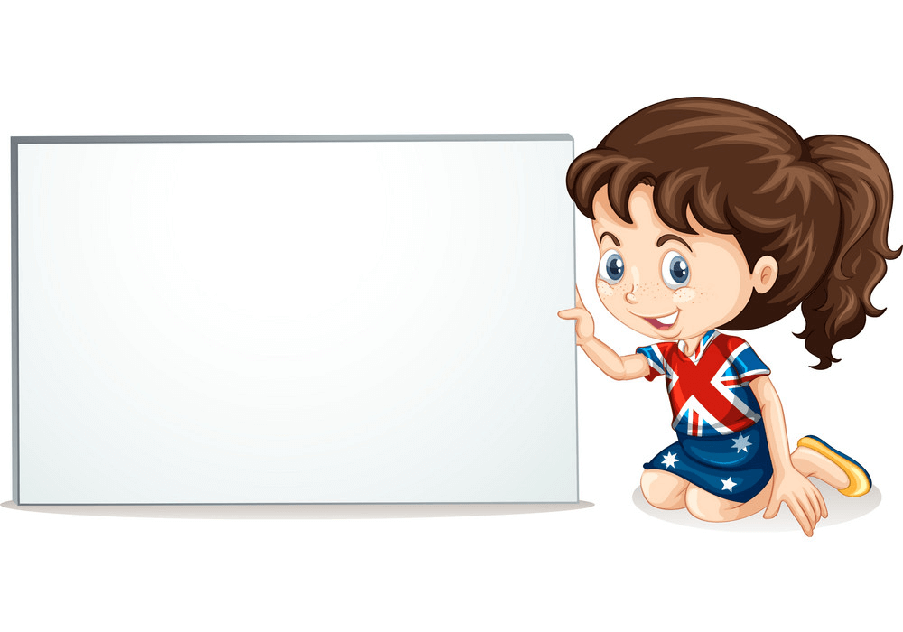 Girl and Whiteboard clipart