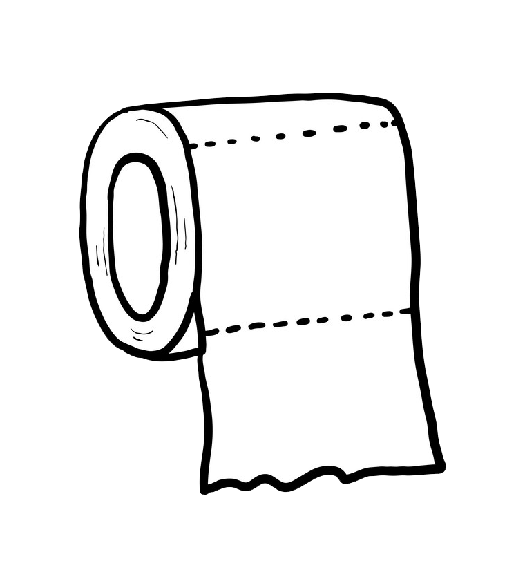 Hand Draw Toilet Paper clipart transparent