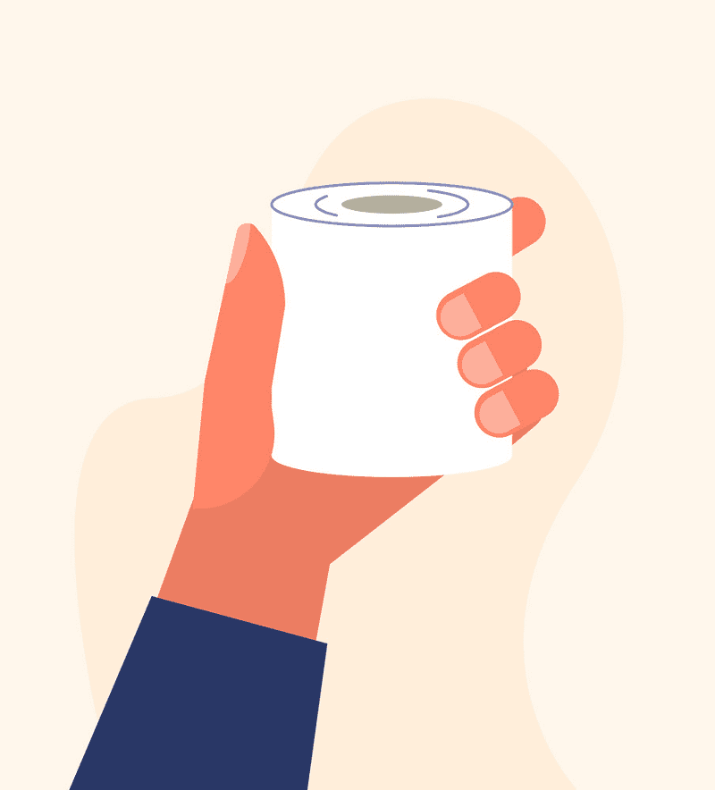 Hand Holding Toilet Paper clipart
