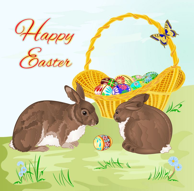 Happy Easter Rabbits clipart