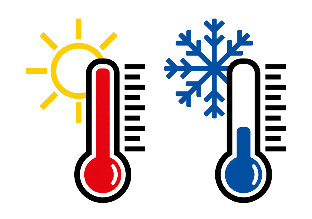 Hot and Cold Thermometer clipart transparent
