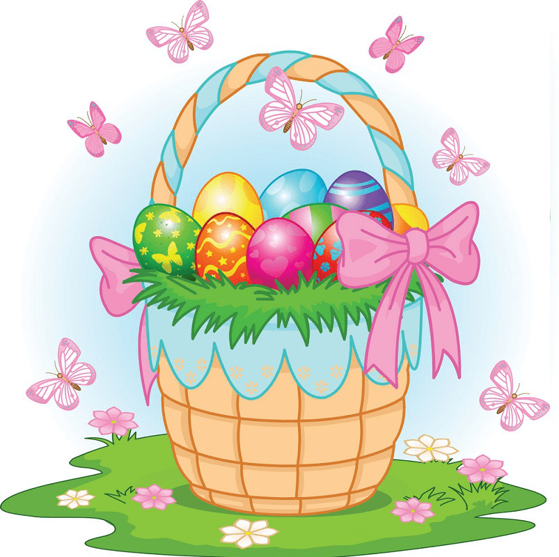 Kawaii Easter Basket clipart free