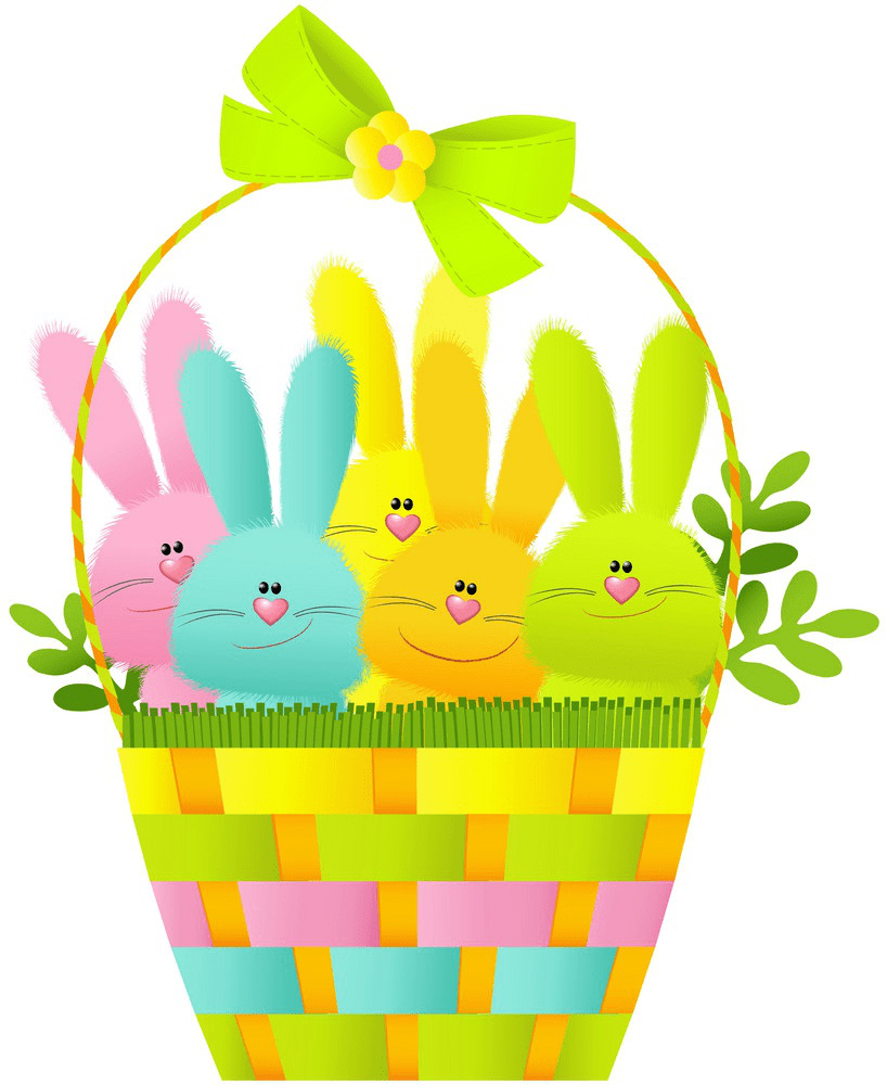 Kawaii Easter Basket clipart