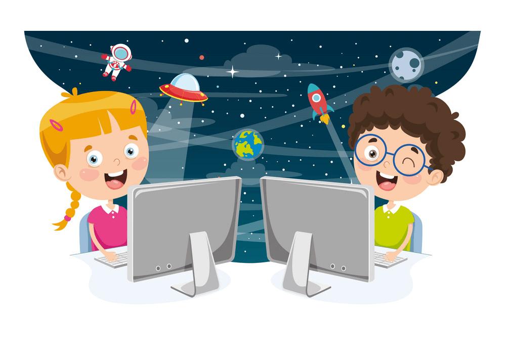 Kids Using Computer clipart