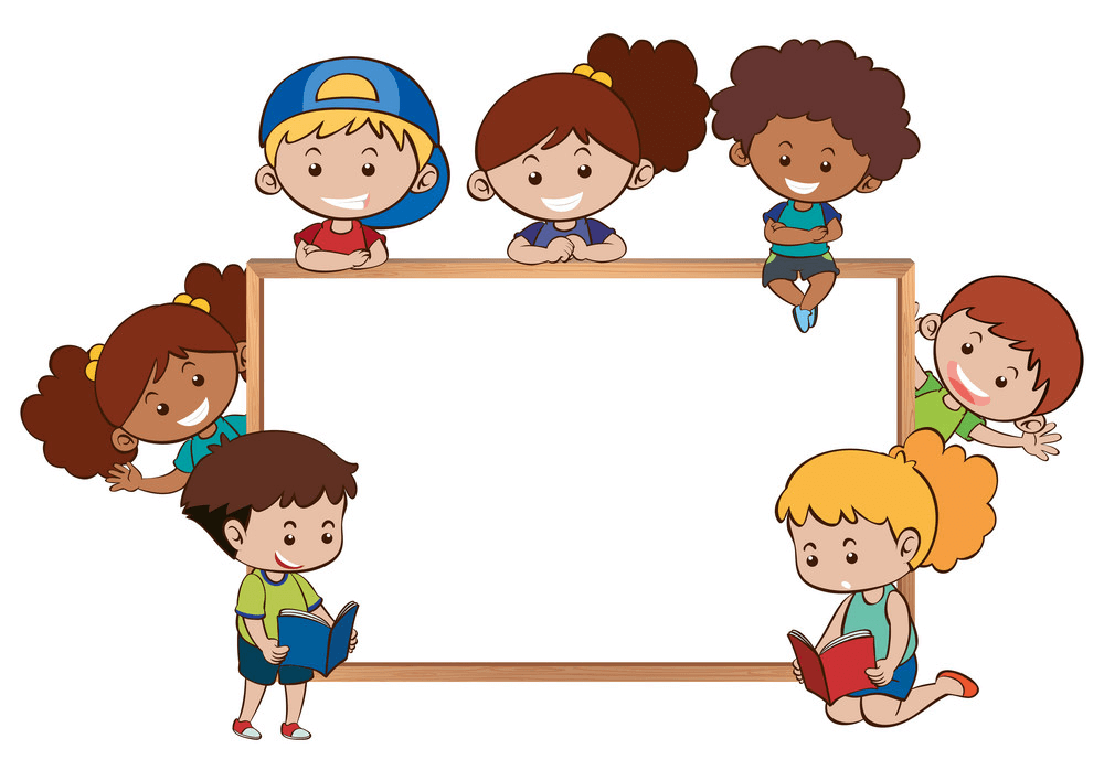 Kids and Whiteboard clipart