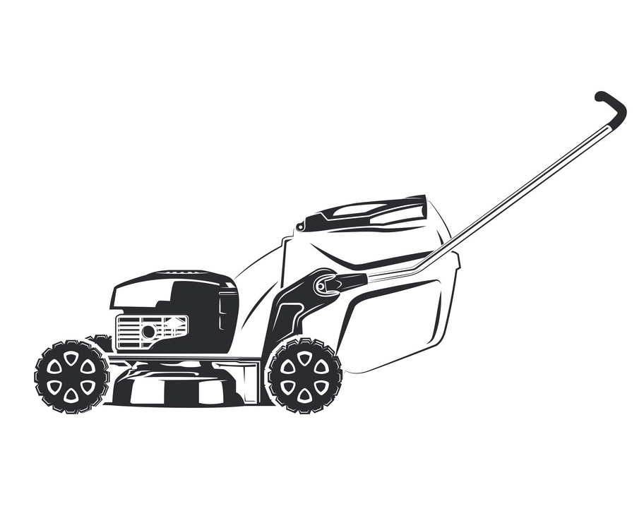 Lawn Mower Clipart Black and White 1