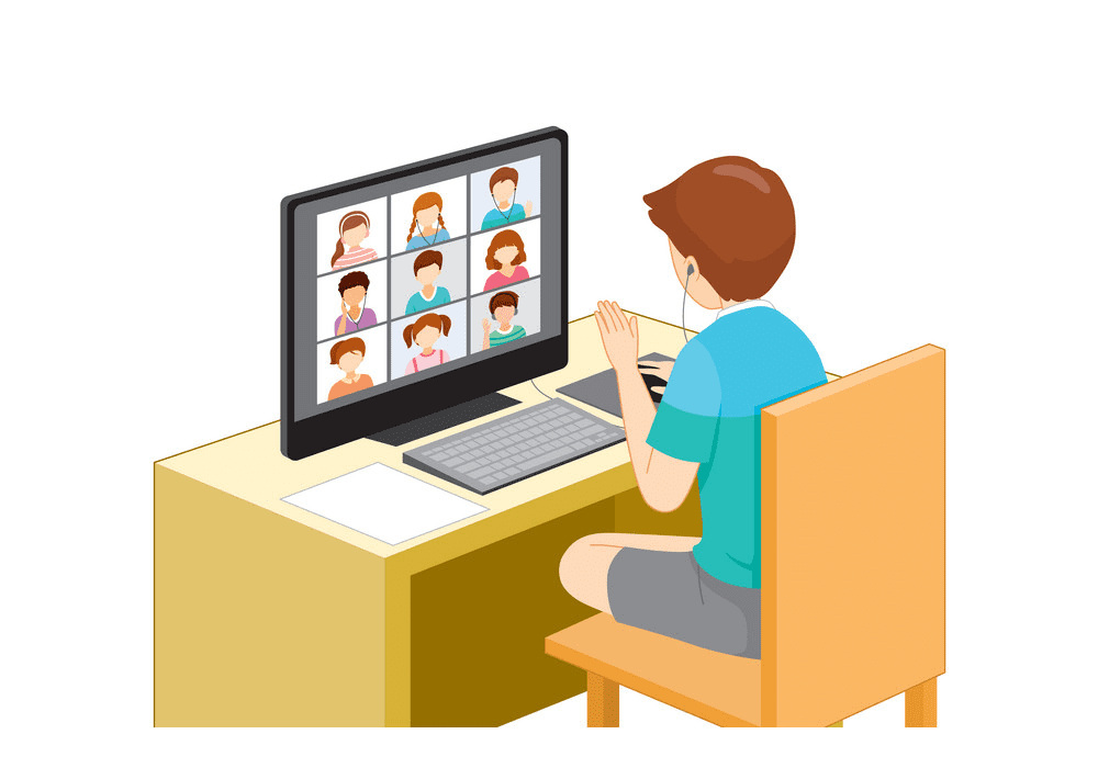 Learning Online with Computer clipart