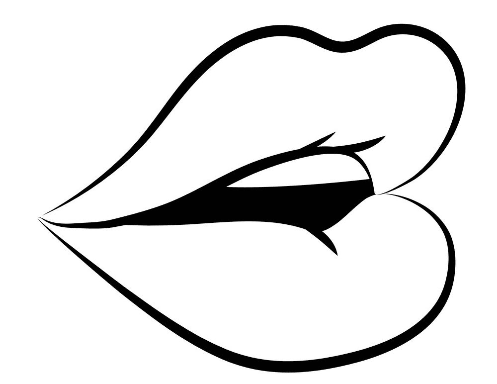 Lips Clipart Black and White 1