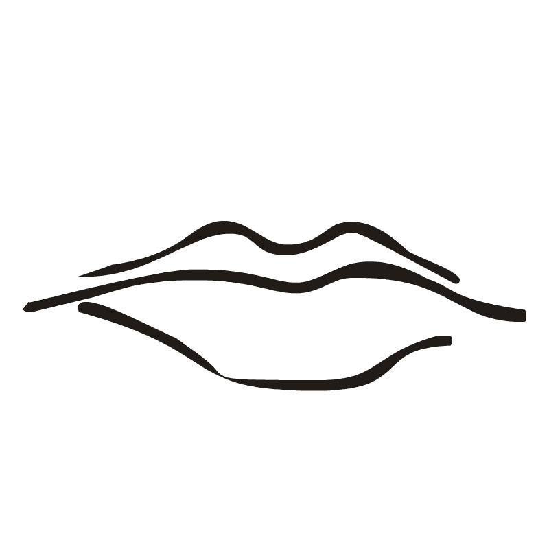 Lips Clipart Black and White 4