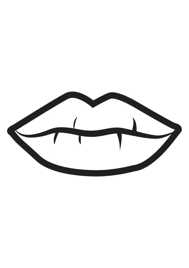 Lips Clipart Black and White 5