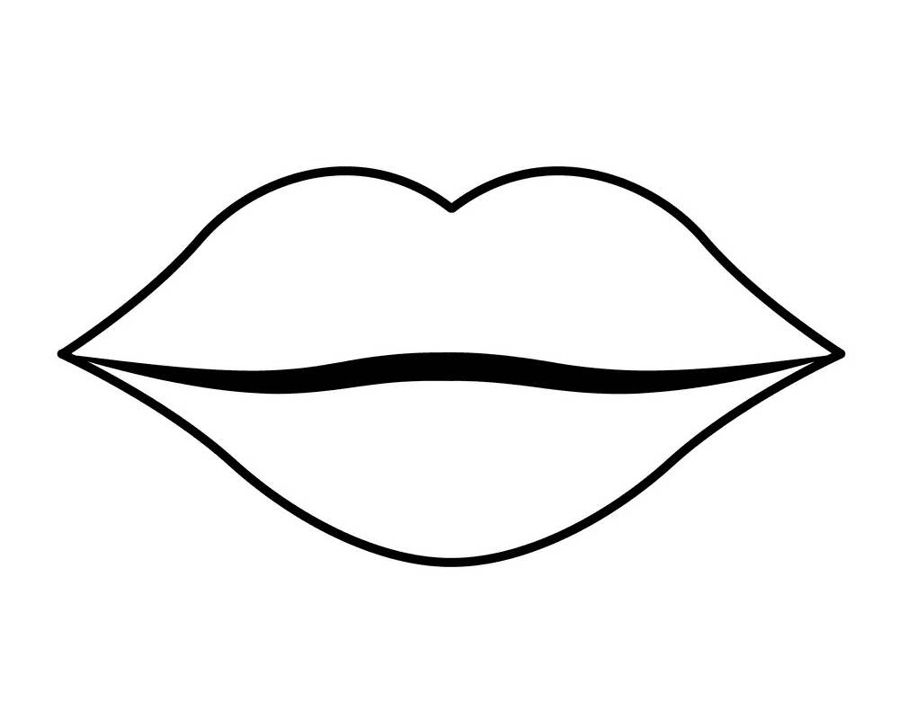 Lips Clipart Black and White 6