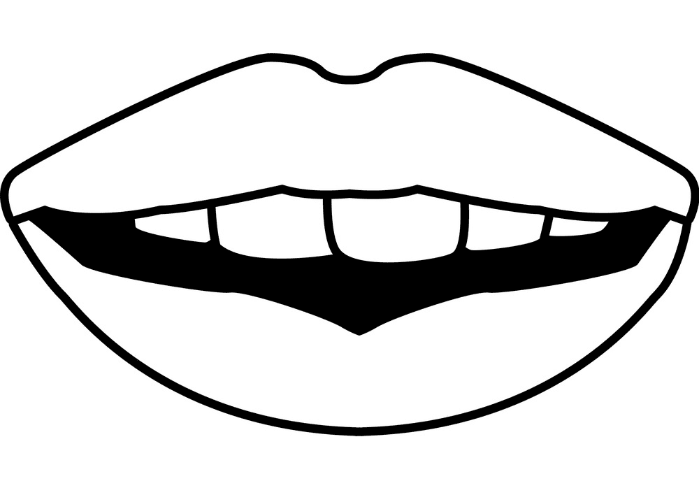 Lips Clipart Black and White 7