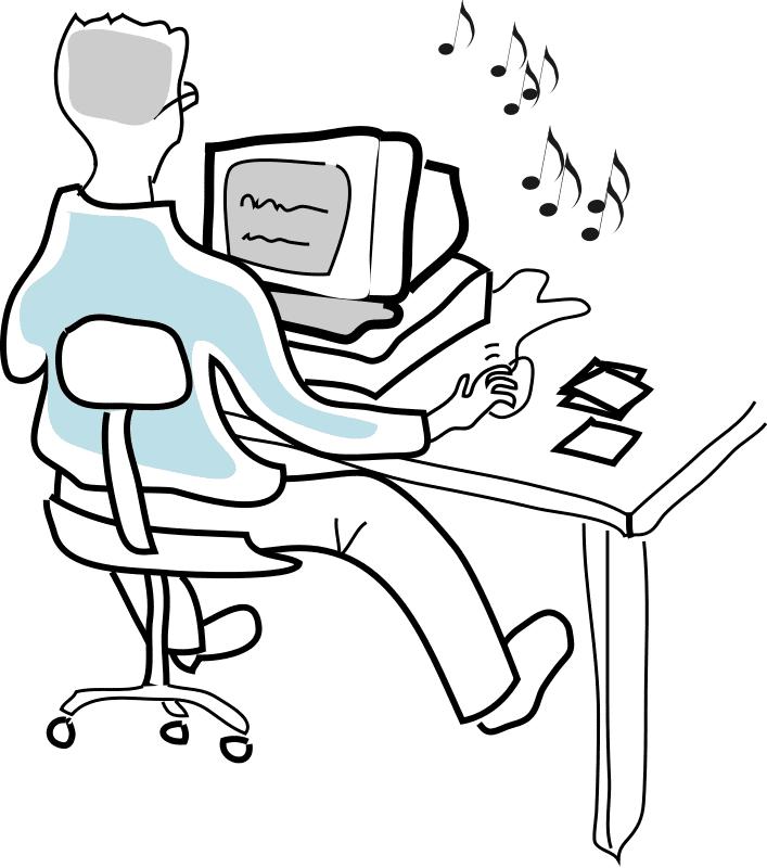 Man Using Computer clipart