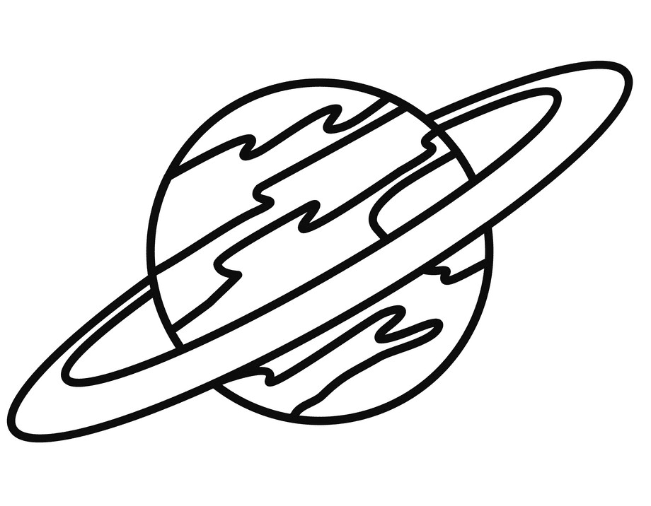 Outline Saturn Planet clipart