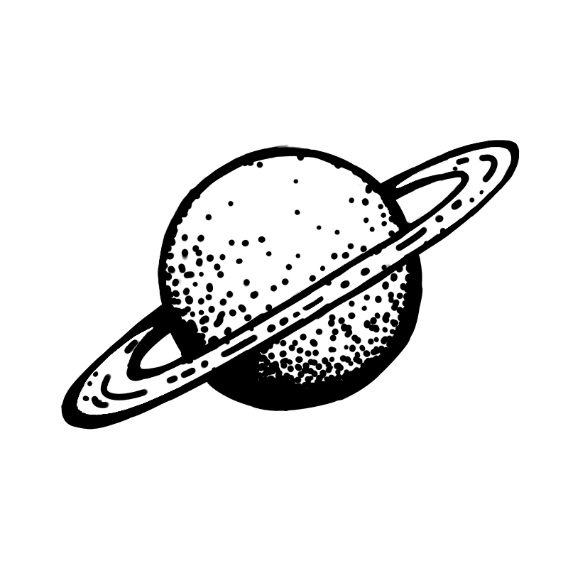 Saturn Black and White clipart 1