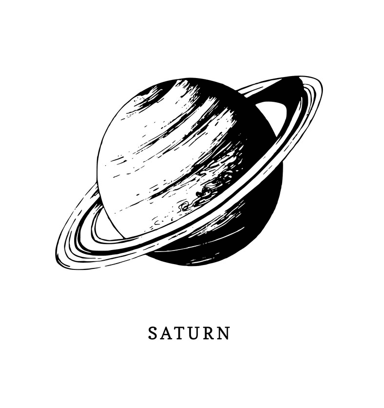 Saturn Black and White clipart 2
