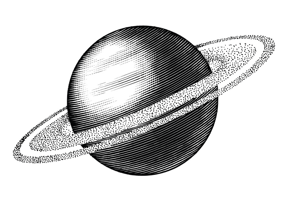 Saturn Black and White clipart 3