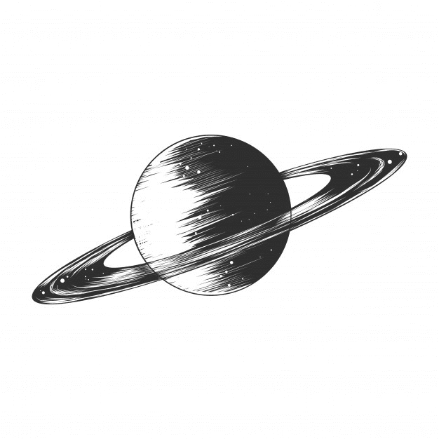Saturn Black and White clipart free